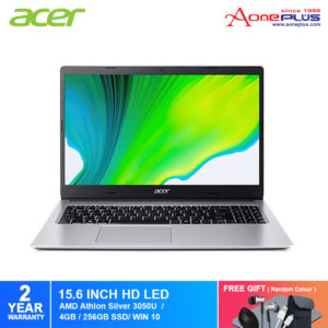 Acer Aspire 3 A315-23-R077 Notebook NX.HVUSM.002 Shale Black /AMD Athlon Silver 3050u /4GB /256GB SSD/AMD Graphic/15.6-inch HD/ W10+Free Premium Gift
