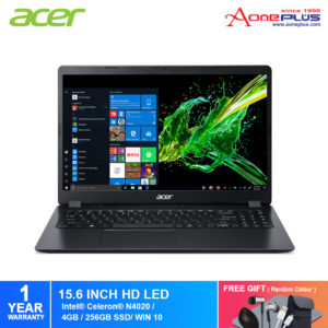 Acer Aspire 3 A315-34-C45W Notebook NX.HE3SM.007 Obsidian Black /Intel Celeron /4GB /256GB SSD/Intel Graphic/15.6-Inch HD/ W10+FRee Premium Gift
