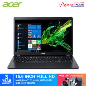 Acer Aspire 3 A315-57G-79E2 Notebook NX.HZRSM.001 Obsidian Black / i7-1065G7 /8GB/512GB SSD/15.6-Inch FHD/NV MX330 2GB/Win10+Free Premium Gift