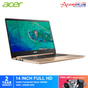 Acer Swift 1 SF114-32-P3JM Notebook NX.GXRSM.006 Luxury Gold / Pentium N5030/4GB/256GB/Intel/WIN 10/14-Inch FHD+Free Premium Gift