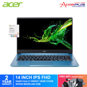 Acer Swift 3 SF314-57G-78HJ Notebook NX.HJLSM.001 /Intel i7 10th Gen/ 16GB/ 512GB SSD /14-Inch FHD/Win 10/ Microsoft Office Home & Student Full Version+Free Premium Gift