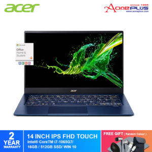 Acer Swift 5 SF514-54T-70AA Notebook NX.HHYSM.002 Charcoal Blue /i7-1065G7/16GB/ Intel® Iris® Plus Graphics/512GB PCIe SSD/14-Inch Matte IPS FHD LED with Touch /W10/ Pre-Installed Office 2019+Free Premium Gift
