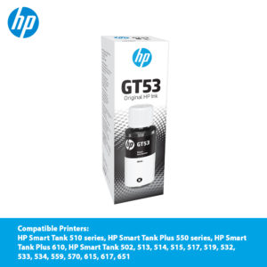 HP GT53 Black Original Ink Bottle – 1VV22AA