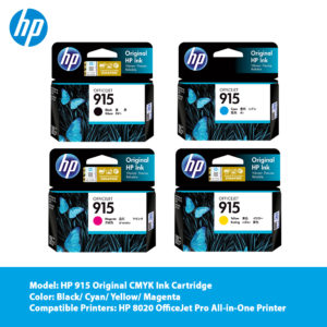 HP 915 Original CMYK Ink Cartridge – Black (3YM18AA)/ Cyan (3YM15AA)/ Magenta (3YM16AA)/ Yellow (3YM17AA)