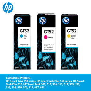 HP GT52 Original Ink Bottle – Cyan (M0H54AA)/ Magenta (M0H55AA)/ Yellow (M0H56AA)