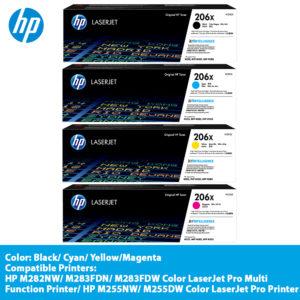 HP 206X Colour Toner Cartridge – W2110X (Black),